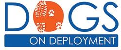 "Dogs on Deployment (Santee, California) logo with blue ""DOGS ON DEPLOYMENT"" with a dog and combat boot print inside orange ""O"""