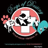 Dogs of Destiny (Hampton, Virginia) logo with white cross on pink circle with dogs, cats, paw print, heart, man walking dogs