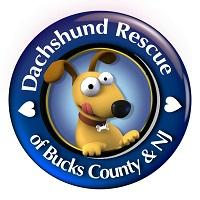 Doxie Rescue of Bucks County & NJ (Morrisville, Pennsylvania) logo of blue circle with cartoon image of dachshund in the center