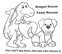 Dragon Dream Team Rescue (Jamestown, Tennessee) logo of sketch of dragon, heart & puppy
