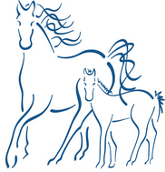 Dreamchaser Horse Rescue & Rehabilitation (Falcon, Missouri) logo of horse and foal sketch in blue