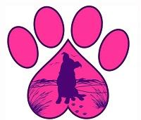 Dune Dawgs Rescue Inc (Kill Devil Hills, North Carolina) logo of pink paw print with dog in upside down heart