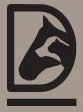 Dust Bowl Animal Rescue (Midland, Texas) logo with black head of cat on white head of dog on black head of horse inside letter D