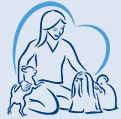 Dutch Country Animal Rescue (Bucks County, Pennsylvania) logo with outline of heart in blue behind outlines of woman with 2 dogs