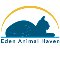 Eden Animal Haven (Brighton, Missouri) logo of blue cat with yellow arch