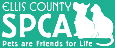 Ellis County SPCA (Waxahachie, Texas) logo of white cat and dog on green background with 'Pets Are Friends for Life' tagline