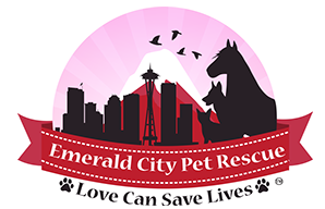 Emerald City Pet Rescue (Seattle, Washington) logo of pink snowglobe with horse, dog, cat, bird & Seattle skyline