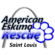 American Eskimo Rescue of St. Louis logo with arch and paw print
