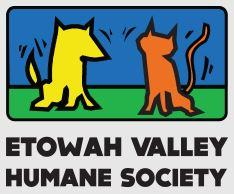 Etowah Valley Humane Society (Cartersville, Georgia) logo of yellow dog, orange cat on blue and green background