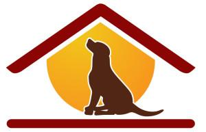 Rescue Haven Foundation (Bloomfield, New Jersey) logo is a dog sitting in the outline of a house with a yellow background
