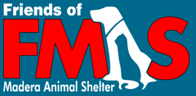 "Friends of Madera Animal Shelter (Madera, California) logo of FMAS with the ""A"" formed by a cat within a dog in profile"