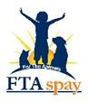 For the Animals Low-Cost Spay & Neuter (FTASpay)(Wildomar, California) logo of cat, human, dog in front of sun
