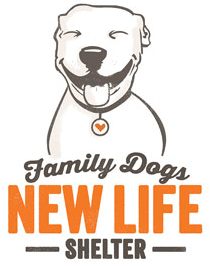 Family Dogs New Life Shelter (Portland, Oregon) logo with smiling white dog