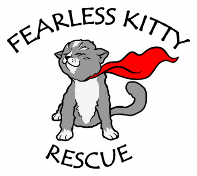 Fearless Kitty Rescue (Fountain Hills, Arizona) logo of cat with red cape