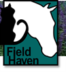 FieldHaven Feline Center (Lincoln, California) logo has a black cat and a white horse head on a teal background