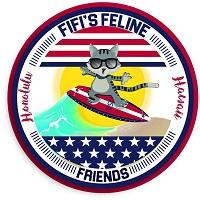 FiFi's Feline Friends (Honolulu, Hawaii) logo of cat on surfboard
