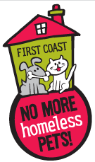 First Coast No More Homeless Pets (Jacksonville, Florida) logo has a grey dog with a bone and a white cat in a house