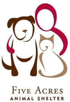 Five Acres Animal Shelter (St. Charles, Missouri) logo has an outline of a person with their arms around a dog and cat