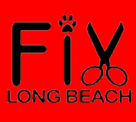 """Fix Long Beach (Long Beach, California) logo is red and black with the """"i"""" dotted by a pawprint and the """"x"""" formed by scissors"""