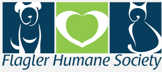Flagler Humane Society (Palm Coast, Florida) logo with dog, heart & cat