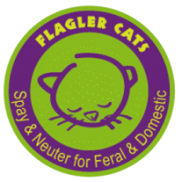 Flagler Cats (Bunnell, Florida) logo with cat head in green circle with purple outer band and Spay & Neuter for Feral & Domestic