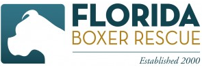 Florida Boxer Rescue (Eustis, Florida) logo with boxer, Florida Boxer Rescue established 2000