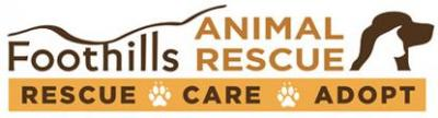 Foothills Animal Rescue (Scottsdale, Arizona) logo with white cat & black dog, and 'Rescue, Care, Adopt' tagline