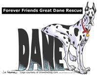 Forever Friends Great Dane Rescue (Morris, Indiana) logo with Great Dane