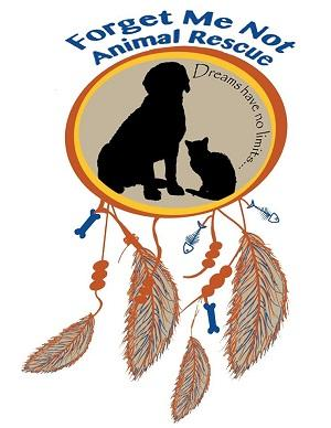 Forget Me Not Animal Rescue (Strongsville, Ohio) logo with dog & cat in circle with feathers hanging off (dream catcher)