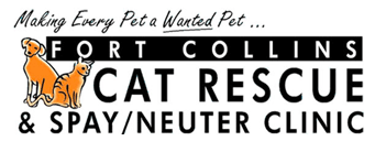 Fort Collins Cat Rescue & Spay/Neuter Clinic (Ft Collins, CO) logo with orange cat & dog, tagline Making Every Pet a Wanted Pet