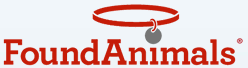 "Found Animals Foundation (Los Angeles, California) logo of a red collar above the name with the tag dotting the ""i"" in ""Animals"""