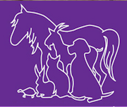 Four Peaks Animal Rescue (Scottsdale, Arizona) logo is purple with white outlines of a horse, goat, dog, cat, rabbit, and turtle