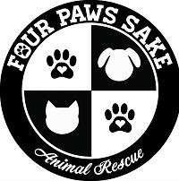Four Paws Sake (Maryville, Illinois) logo is a circle with a dog, cat, and two pawprints with hearts inside in black and white