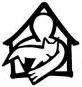 Franklin County Animal Shelter (Farmington, Maine) logo of outline of house, person, cat