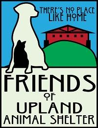 "Friends of Upland Animal Shelter (Upland, California) logo has a dog, cat, and house with ""There's no place like home"" tagline"