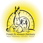 Friends for Animals Sanctuary (Melbourne, Florida) logo with horse, cat, dog and sun