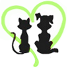 Friends of Animals in Nassau (Fernandina Beach, Florida) logo of black silhouettes of cat and dog facing outline of green heart