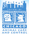 Friends of Chicago Animal Care and Control (Chicago, Illinois) logo has a dog and a cat in squares under the cityscape