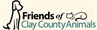 Friends of Clay County Animals (Fleming Island, Florida) logo has a dog on one side and a cat curled up on the name