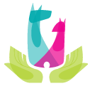 Friends of Jacksonville Animals (Jacksonville, Florida) logo is green open hands that contain heads of a blue dog & pink cat