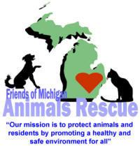 Friends of Michigan Animals Rescue (Belleville, Michigan) logo of a dog & cat on each side of Michigan state with a heart inside