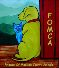 Friends of Madison County Animals (Marshall, North Carolina) logo has a dog and cat on a deck overlooking the mountains