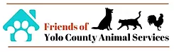 Friends of Yolo County Animal Services (Woodland, California) logo with teal house with paw print and cat, dog, chicken outlines