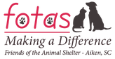 "Friends of the Animal Shelter (Aiken, South Carolina) logo says ""fotas Making a Difference"" with a black dog and cat"