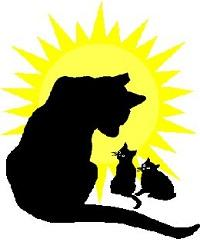 Friends of Feral Felines (Charlotte, North Carolina) logo of cat with 2 kittens and sun in the background