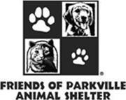 Friends of Parkville Animal Shelter (Parkville, Missouri) logo has four squares containing a dog, cat, and two pawprints