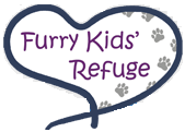 "Furry Kids' Refuge (Lee's Summit, Missouri) logo is a heart with paw prints and ""Furry Kids' Refuge"" in it"