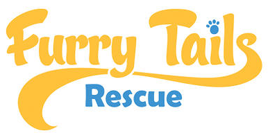 "Furry Tails Rescue (Reseda, California) logo is ""Furry Tails"" in yellow with a paw print to dot the ""i"" & ""Rescue"" in blue"