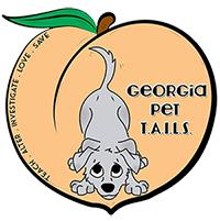 "Georgia Pet Tails (Rydal, Georgia) logo is a peach with a grey dog, the name and ""teach.alter.investigate.love.save"" inside"