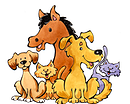 Geauga Humane Society's Rescue Village (Russell, Ohio) logo has a horse, two cats, and two dogs clustered together